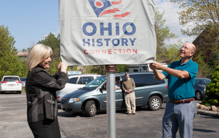 Ohio Historic Marker dedicated at the former site of Cowan Pottery in Rocky River